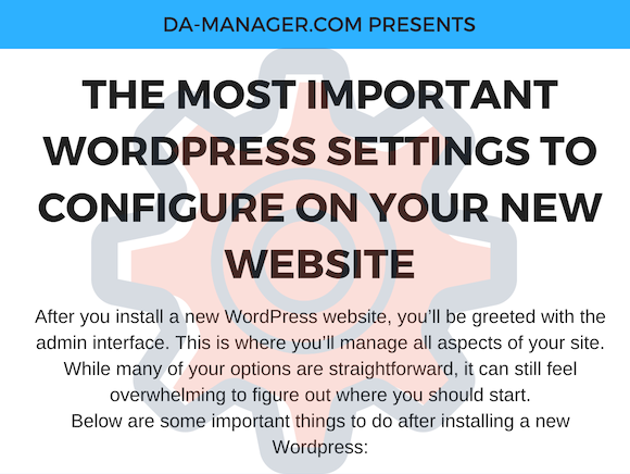 10 WordPress Settings For Your New Website