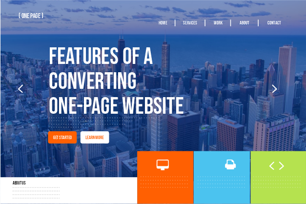 features of a converting one-page website