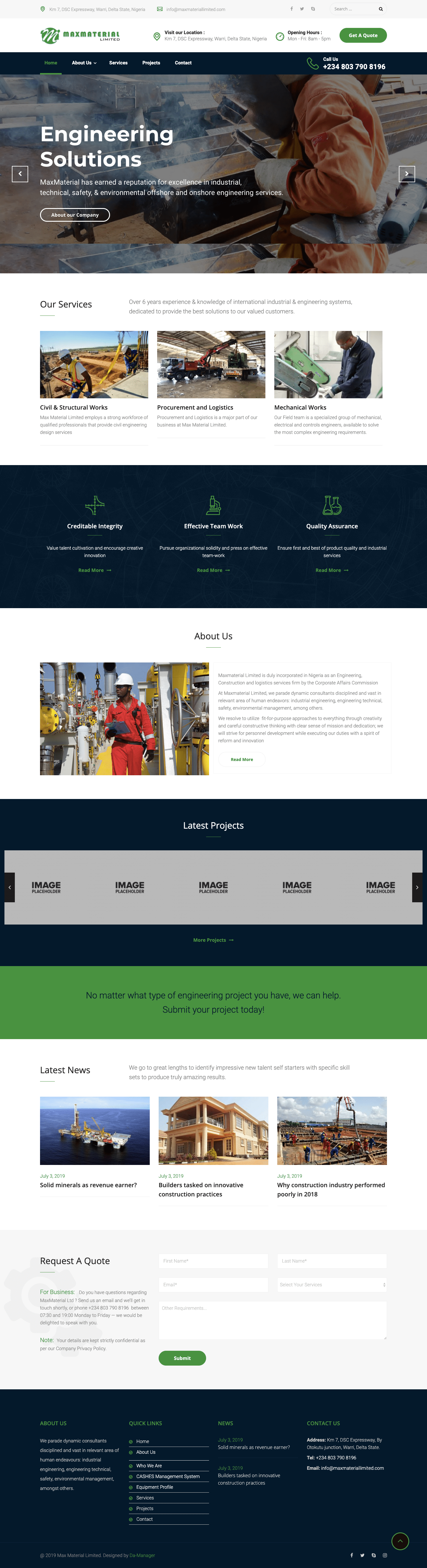 MaxMaterial Oil and Gas Company Website Design