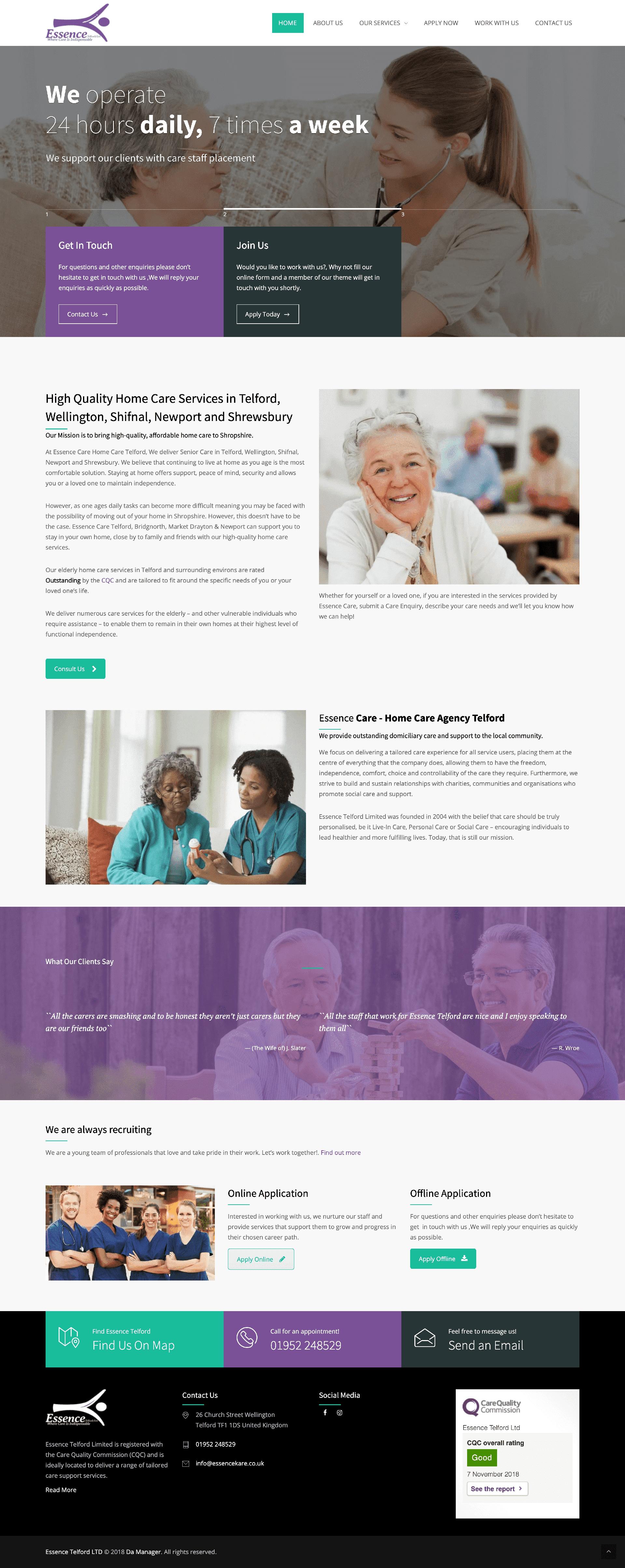 Website Design for Health and Social Care Provider - Essence Kare mockup