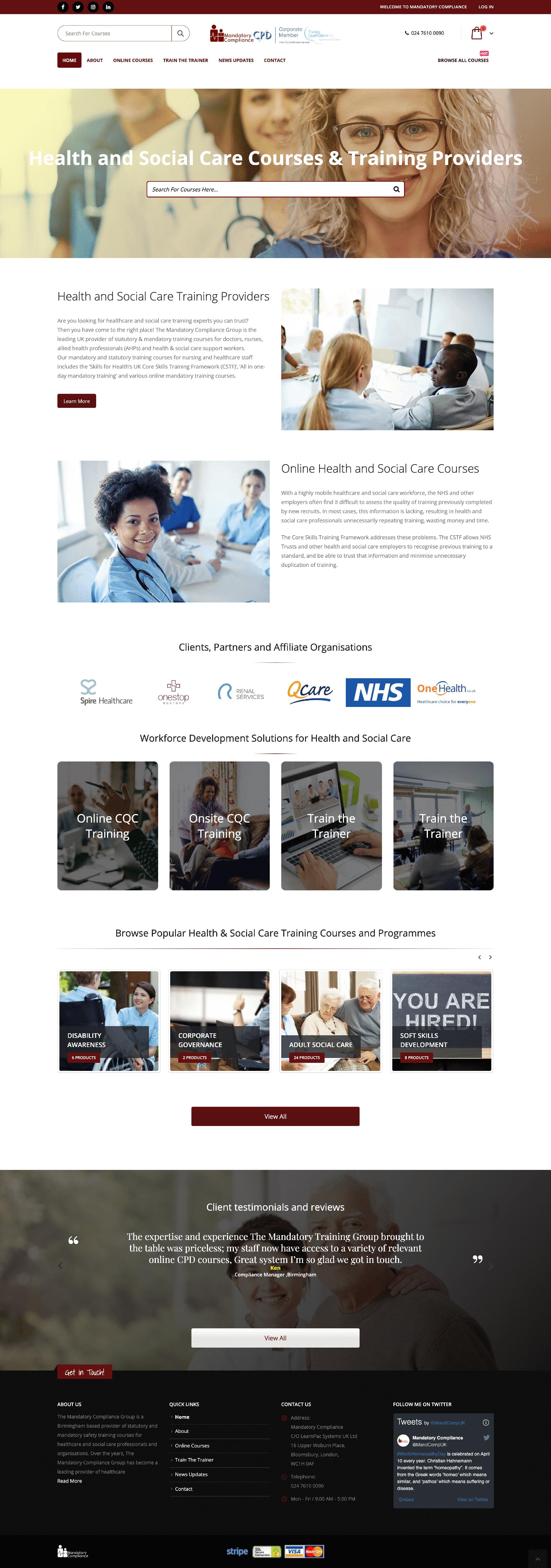 Website Design for Mandatory Training Courses Provider - Mandatory Compliance Mockup